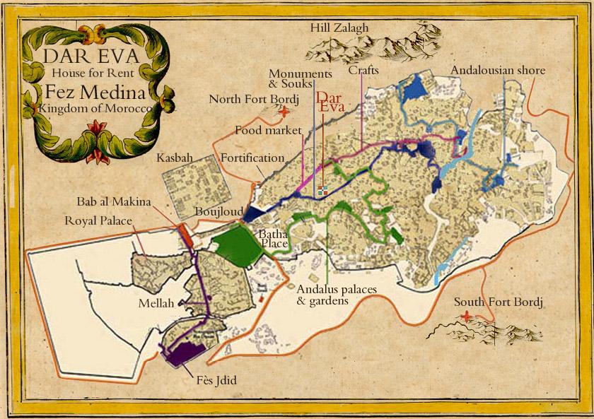 Fez Medina Map Carte Medina de Fes